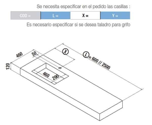 Encimera de un seno integrado 46 cm profundidad - Compakt - Salgar