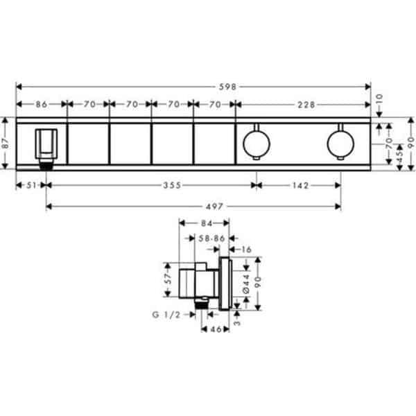 RainSelect Termostato Empotrado con 4 funciones - hansgrohe