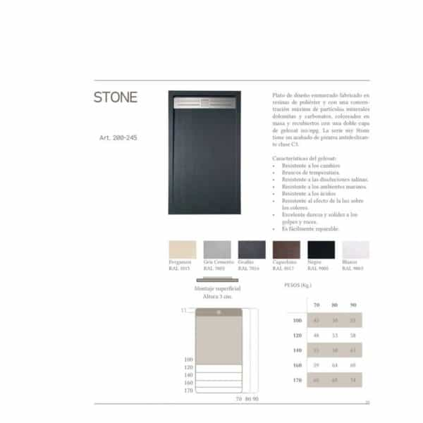 Plato de ducha liso Stone Enmarcado - Gresancu