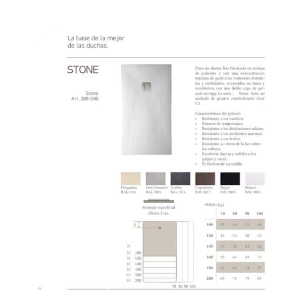 Plato de ducha liso Stone - Gresancu