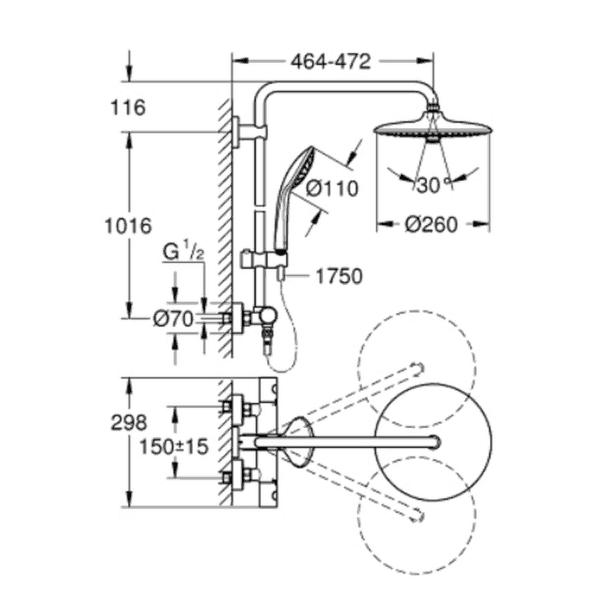 Columna de ducha Euphoria System 260 - Grohe