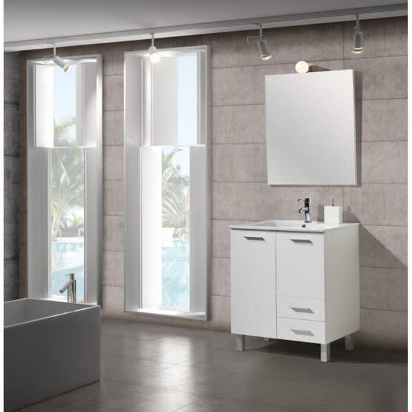 Conjunto de baño , mueble con lavabo - Seven blanco - Muebles Jumar