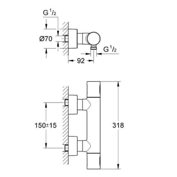 Grifo termostato de ducha - Grohtherm 3000 - Grohe
