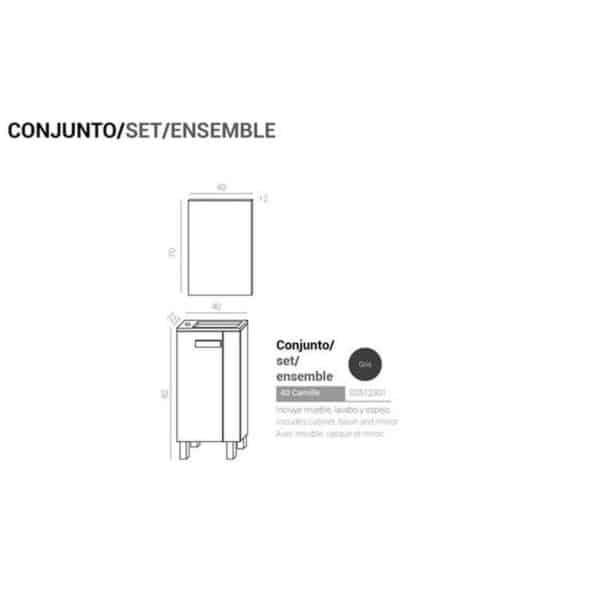 Conjunto de baño - Kit Camille 40 - Muebles Jumar