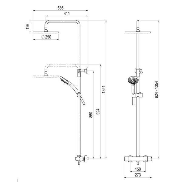 Columna de ducha termostática - Aroha - Griferias Galindo