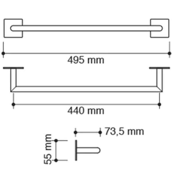 Toallero barra 49,5 cm - Pixel - Neodek
