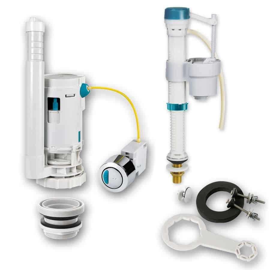 Juego de reparaci/ón de v/álvula de cisterna de inodoro con doble pulsador cromado para cisterna y sif/ón de ba/ño