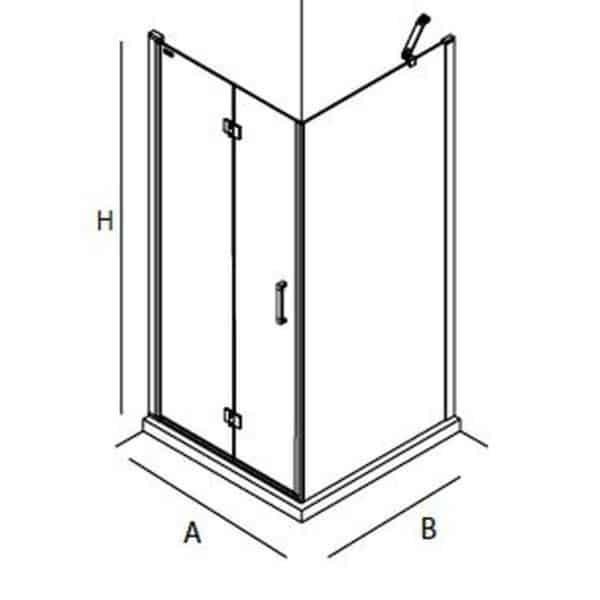 Mampara frontal de puerta abatible con lateral fijo - Serie Odense - Salgar