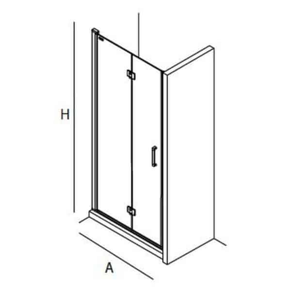 Mampara frontal de ducha de puerta abatible - Serie Odense - Salgar