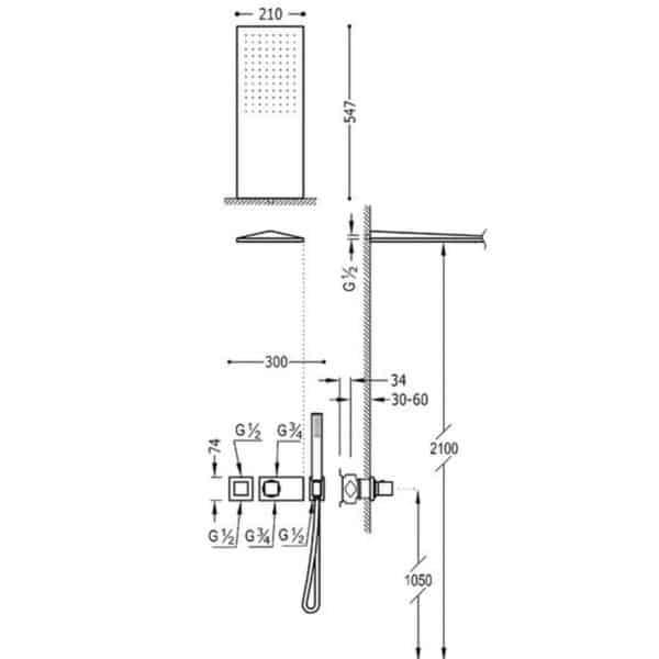 Kit de ducha termostática empotrada - BlockSystem - Tres grifería