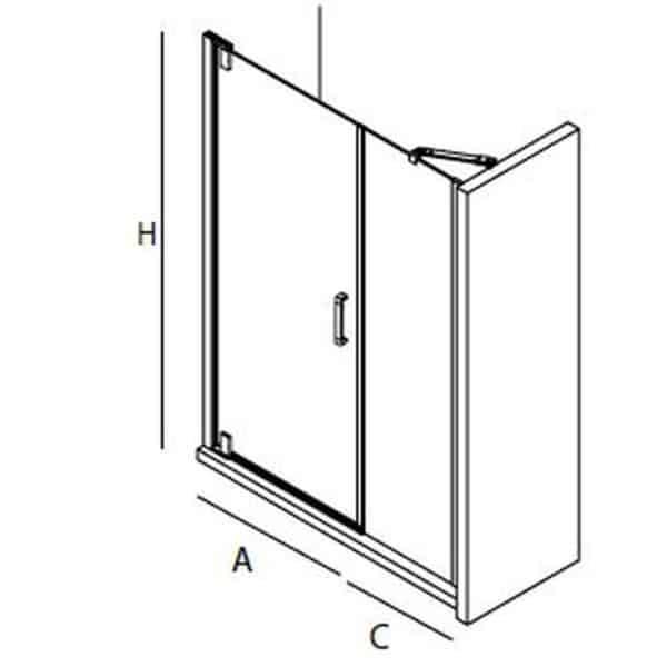 Mampara frontal de una puerta con fijo - Serie Malmö - Salgar
