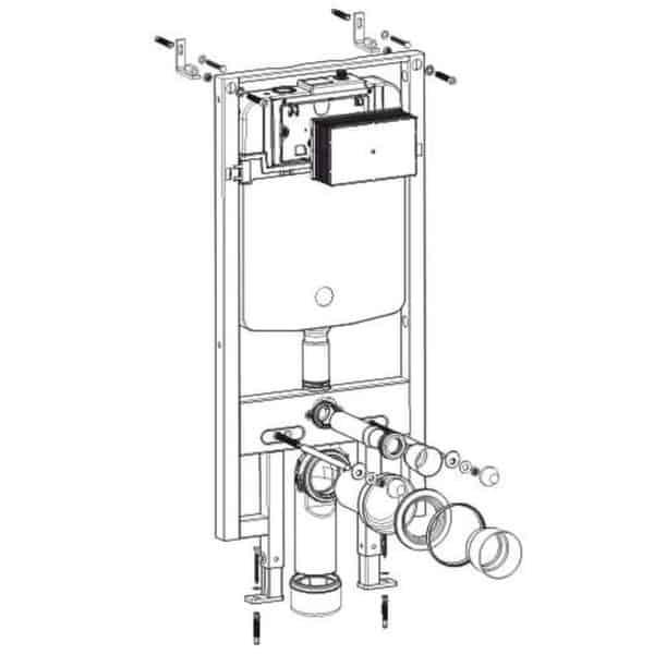 Conjunto cisterna empotrada con bastidor drena SLIM para inodoro suspendido - Drena