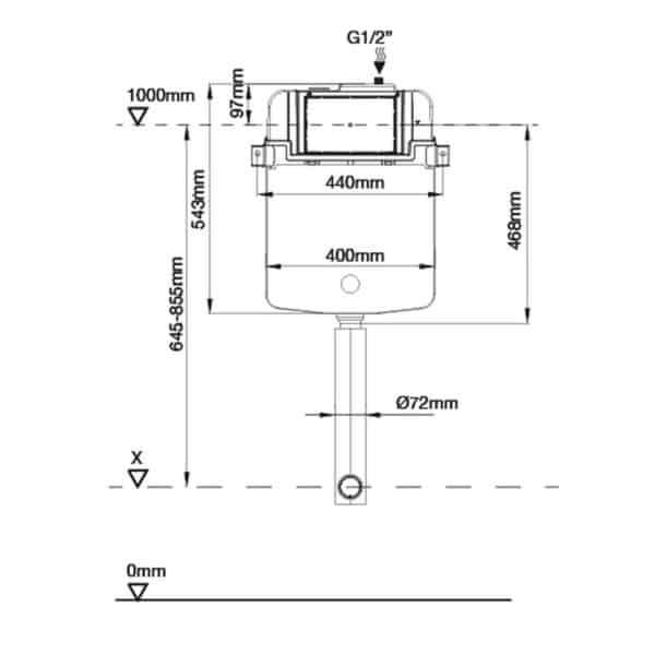 Conjunto cisterna empotrada con bastidor drena SLIM para inodoro a suelo - Drena
