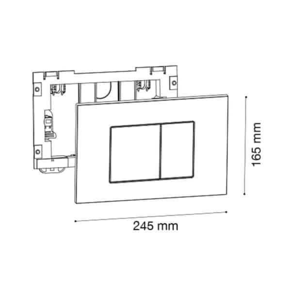 Placa pulsadora doble cuadrados blanco - Drena