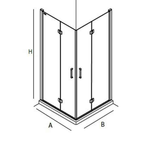 Mampara de angular de ducha de puerta abatible - Serie Odense - Salgar
