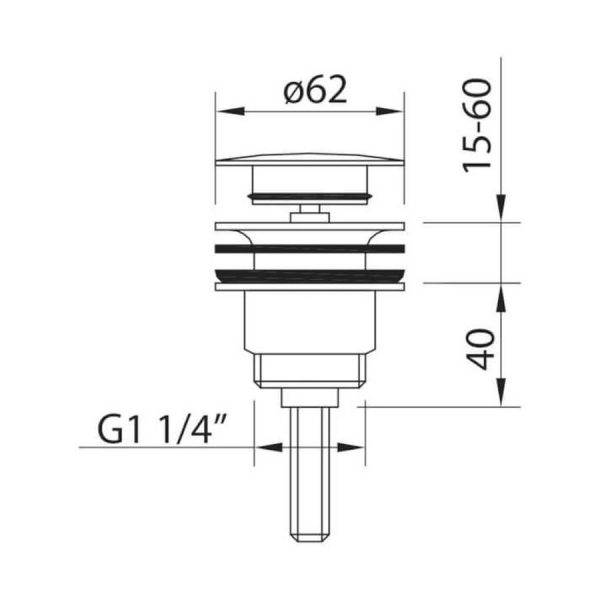 Válvula desagüe Quick-clac negro/blanco - Leo - Clever