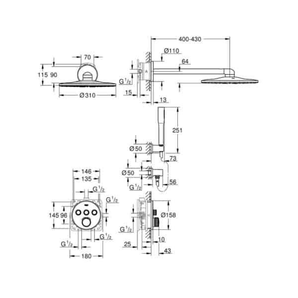Conjunto de ducha Perfect con rainshower 310 Smartactive - Grohtherm Smartcontrol - Grohe
