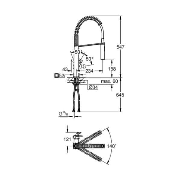 Monomando de fregadero caño flexible - Eurocube - Grohe