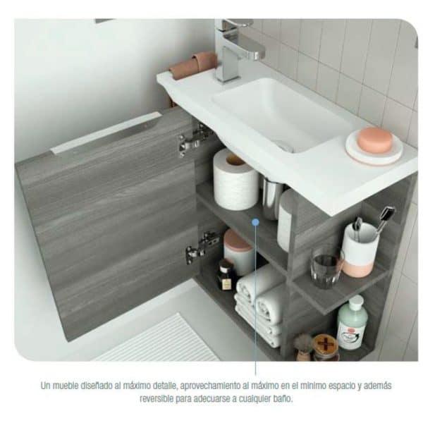 Mueble suspendido y lavabo Solid surface fondo reducido - Martha - Salgar