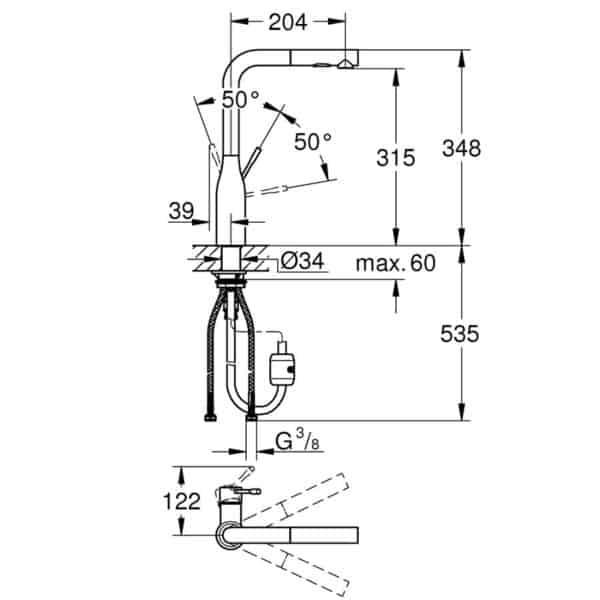Monomando de fregadero con caño extraible - Essence - Grohe