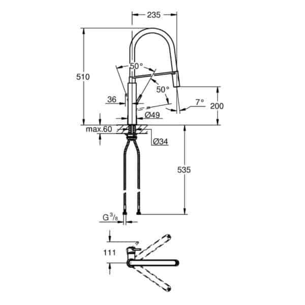 Monomando de fregadero negro y cromo - Concetto - Grohe