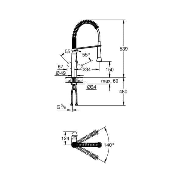 Monomando de fregadero - K7 - Grohe