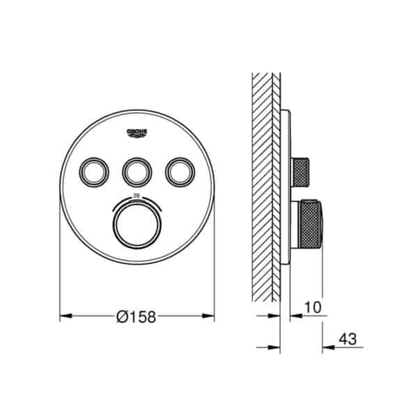 Termostato empotrado con 3 llaves - Grohtherm Smartcontrol