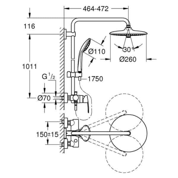 Sistema de ducha con monomando - Euphoria System 260 - Grohe