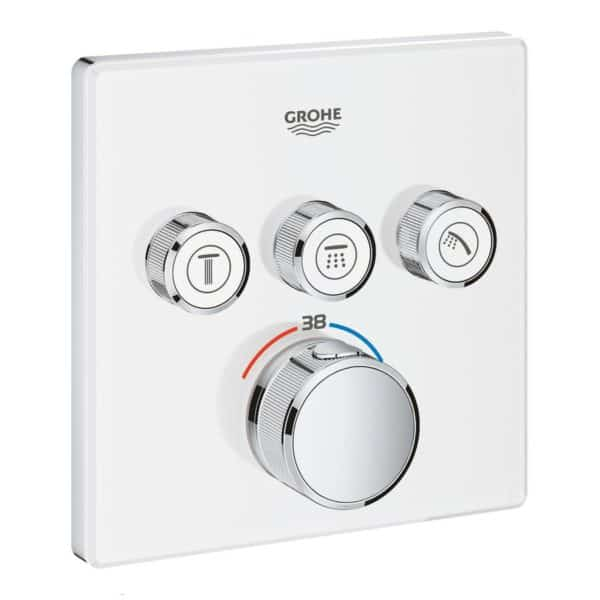 Termostato empotrado con 3 llaves - Grohtherm Smartcontrol Blanco - Grohe