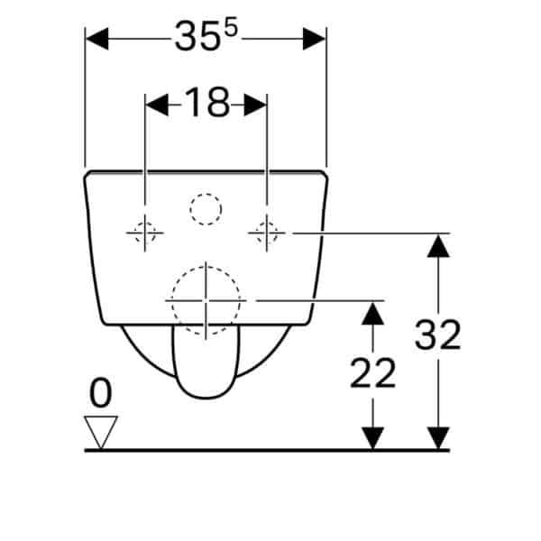 Inodoro suspendido fondo profundo, compacto, Rimfree - Icon - Geberit