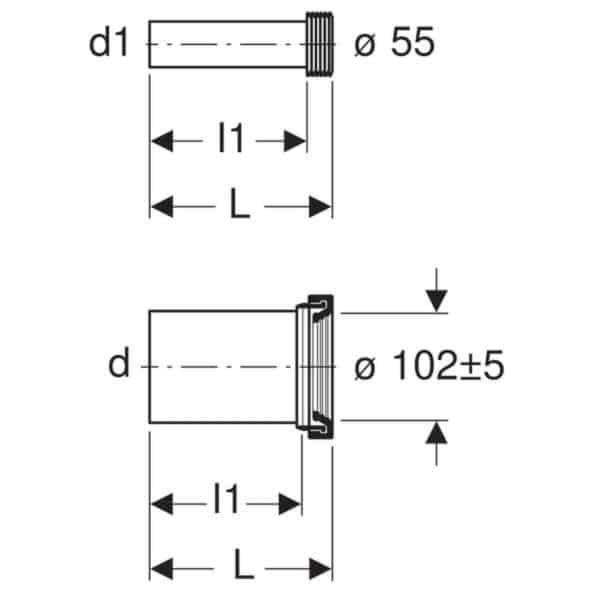 Juego de conexión para inodoro suspendido , longitud 30 cm - Geberit