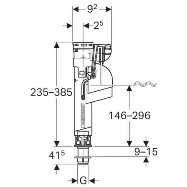 Mecanismo de alimentación serie 360 , conexión de suministro inferior 3/8 , unión de latón - Geberit
