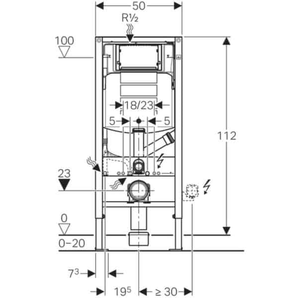 Bastidor para inodoro suspendido , 112 cm , con cisterna empotrada sigma 12 cm , para extracción de olores con recirculación de aire - Duofix - Geberit