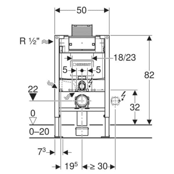 Bastidor para inodoro suspendido , 82 cm , con cisterna empotrada Omega 12 cm - Duofix - Geberit