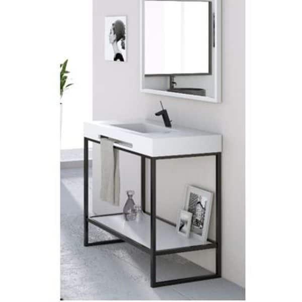 Conjunto estructura mueble a suelo con lavabo de resina y espejo -Lucía-Design Glass