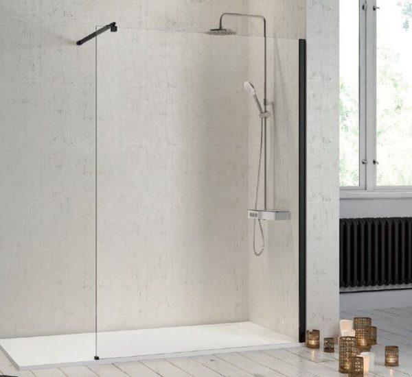 Panel fijo de ducha con perfilería negra  - Fresh - Kassandra