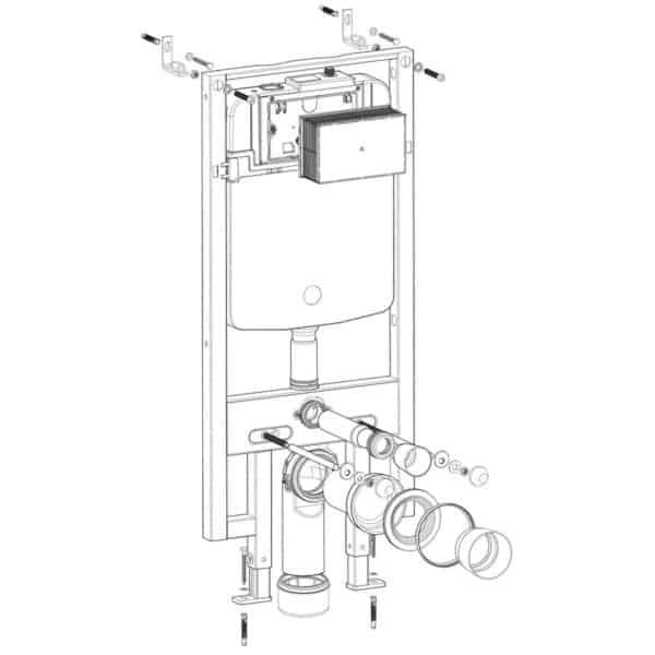 Conjunto cisterna empotrada con bastidor SLIM - Drena