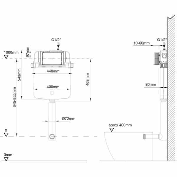 Conjunto cisterna empotrada SLIM - Drena - Plastisan