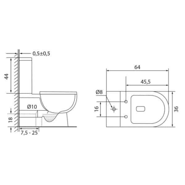 Inodoro compacto a pared - Classic - Futurbaño
