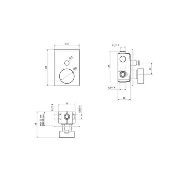 Mecanismo baño-ducha empotrable - Mármol - Griferías Galindo