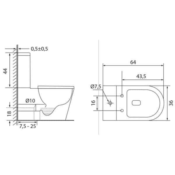 Inodoro Sistema Rimless - Cube - Futurbaño