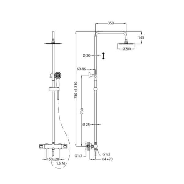 Columna de ducha termostática - Manacor - Teka