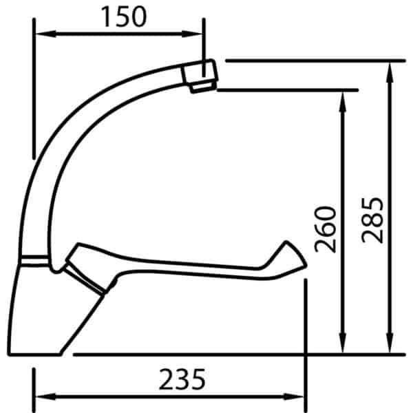 Grifo de cocina gerontológico caño tubo - S12 Urban - Grifería Clever