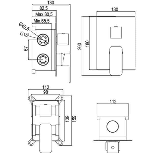 Kit de empotrar monomando 2 viascon rociador y set de ducha - Alpha - AQG