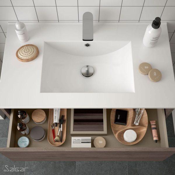 Mueble y lavabo Noja suspendido - 1 cajón y 1 hueco - Salgar