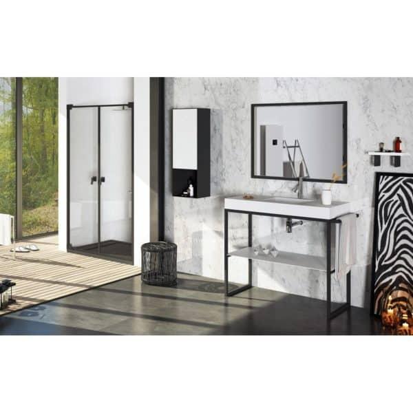 Mueble de aluminio con lavabo de resina con faldón y balda - Lupe - Doccia Group