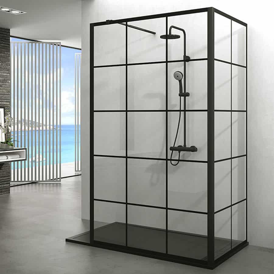 Mamparas con perfilería en negro para el cuarto de baño ...
