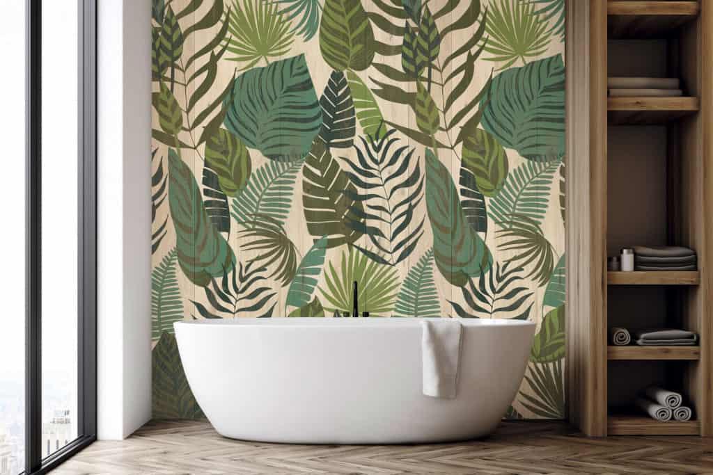 Cuarto de baño con revestimiento Element 3D Premium Jungle Wood