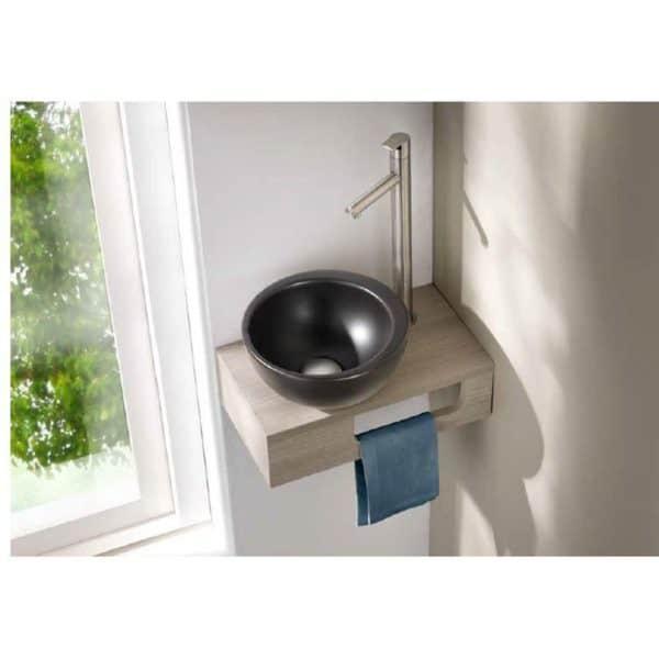 Estante de madera con lavabo de porcelana Spot mini 2.0 - Cazaña