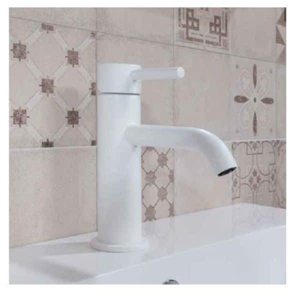 Grifo de lavabo blanco/negro mate - Rondo - Gamma
